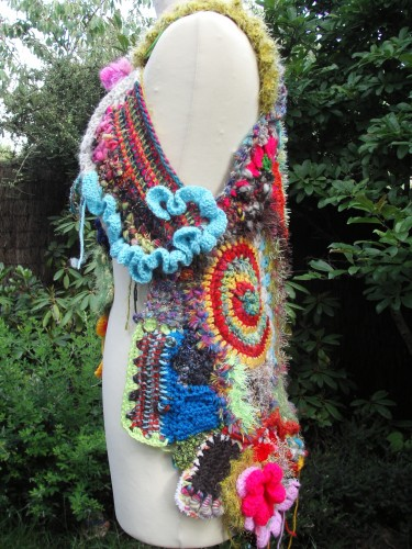 freeform crochet, gilet femme, multicolore, piéce unique