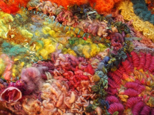 crochet freeform, wall, décor, laines filées au rouets, handspun yarn, France